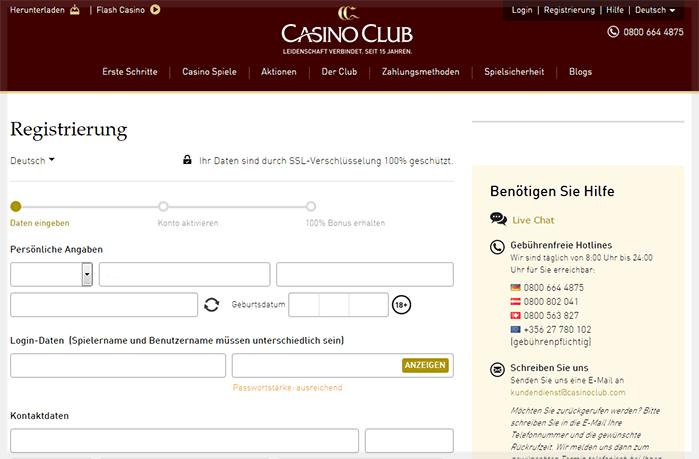 Casino Club Anmeldung